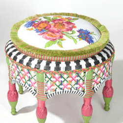 """""""Flower Market"""" Ottoman - The name says it all; this Flower Market Ottoman is a colorful floral addition to start off spring."""
