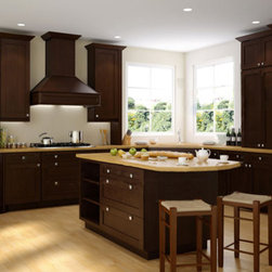 Brazilian Shaker 33x84 Oven Cabinet - The Brazilian Shaker kitchen cabinet collection is a warm espresso finish which will make any space feel welcoming. These cabinets will add a modern touch to your home due to its clean lines and dark coloring. These cabinets are full overlay doors and come with beautiful dovetail drawers and soft closing drawer features. Width 33"