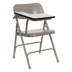Flash Furniture - Premium Steel Folding Chair with Right Handed Tablet Arm - The 309 Series Tablet Arm Chair is at the top of the line with premium grade steel construction to withstand years of use. This tablet arm chair can be used in the school, training room, sports facilities and other environments where individual seating is needed with the added bonus of a tablet arm.