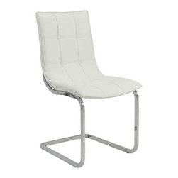 Euro Style - Side Chair in White - Set of 2 - Set of 2. Leatherette over foam seat and back in quilted pattern. Chromed steel frame. Soft, easy to clean leatherette. Warranty: One year. 24 in. W x 18.5 in. D x 34.25 in. H. Assembly Instructions