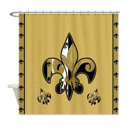 usa - Black And Gold Fleur De Lis - Beautiful shower curtains created from my original art work. Each curtain is made of a thick water resistant polyester fabric. The permanently applied art work appears on the front side with the inside being white. 12 button holes for easy hanging, machine washable and most importantly made in the USA. Shower rod and rings not included. Size is a standard 70''x70''