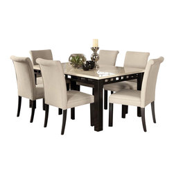 Standard Furniture - Standard Furniture Gateway White 8-Piece Dining Room Set with Parsons Chairs - Impressive proportions and bold styling give Gateway Dining a dynamic contemporary personality.