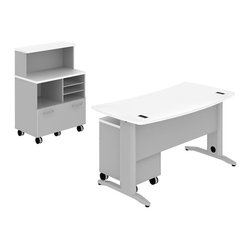 "Bush - Bush Sector 60"" Curved Desk with Storage Units in White - Bush - office Sets - SEC006WH - Room to spare plus everything you need to get started Bush SECTOR Series Suite 6AC in White with 60""W Curved Work Surface is long on style while modest in cost. Easily reconfigurable the metal-to-metal connections allow repeated attaching and detaching without joint fatigue. Includes two covered ports for cord and cable management. Four-gang USB hub allows quick connections for recharging phones or connecting peripherals. Straight-leg kit has raceway under desk front and back grommets and removable side leg panel to allow hiding of unsightly cords and cables. Bush Mobile Pedestal (B/F) has one box drawer for supplies and one full extension file drawer for letter- legal-and A4-size files. Sized to nest conveniently under desk surfaces. Mobile Piler/Filer combines a cubby a flat shelf/inbox and a locking file drawer for extra security and versatility. Adjustable shelves offer optimum flexibility for active projects. Easily moveable yet secure when positioned via two locking and two swivel casters. 30""W Vertical Storage Shelf adds space and works with Bush 30""W Mobile Piler/Filer. Rugged Diamond Coat top surface blends with other Sector pieces, resists marking, staining and abrasions. Includes Bush 10-year warranty."
