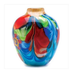 "n/a - Floral Fantasia Art Class Vase - This individually hand crafted jug-shaped vase is a treasure of glowing color and graceful garden imagery.  Actual item may vary in colors from the picture shown here.  Decorative purposes only.  8"" diameter x 9"" high."