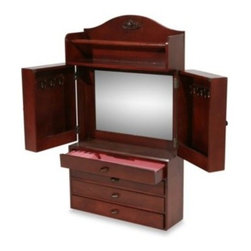 Southern Enterprises Inc. - Wall Mount Jewelry Armoire - Eliminate wasted wall space and convert it to useful organization with this traditional wall mount jewelry armoire with a rich cherry finish.