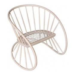Ecofirstart 5 - A elegant one-off piece by the highly collectible designer and maker Katie Walker. Inspired by traditional Windsor chair-making techniques, the Windsor Rocker is made from ash and finished with a white hard-wax oil. The ash is from a locally grown sustainable source and, as is traditional with Windsor chair-making, was worked 'green' and steam bent. The seat of the Woven Windsor is woven with Riempie - which is a South African material, a leather thong or lace used mainly to make chair seats. Katie's use of traditional skills combined with her design aesthetic has produced a chair that is immensely strong yet which has a fluid form that is visually light.