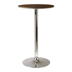 Winsome Wood - Kallie Round Pub Table in Cappuccino Finish - Kallie pub tables are just the thing for small home spaces or for groupings in commercial hospitality settings. Round tops are veneered with a wood grain and cappuccino finish. A simple chromed base adds a modern finish that pairs with adjustable barstools. Round in shape. Made of MDF, Veneer and metal base. Available in different finishes. Assembly required. 23.66 in. Dia. x 39.76 in. H