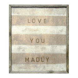 Love You Madly Red White Stripe Reclaimed Wood Wall Art