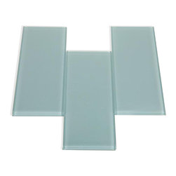 Sample - Loft Blue Gray Polished 4x12 Glass Tiles 1/2 Piece Sample - SAMPLE - LOFT BLUE GRAY POLISHED 4X12 GLASS TILES 1 PIECE SAMPLESamples are intended for color comparison purposes, not installation purposes.-Glass Tiles -