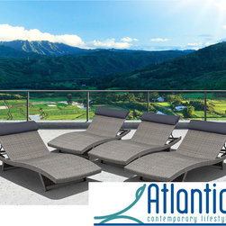 Atlantic - Mykonos 4 Piece Grey Deluxe Loungers - The Mykonos Deluxe loungers combines quality,style and comfort. This contemporary style,combined with the ability to re-arrange the individual pices,makes this the perfect set.