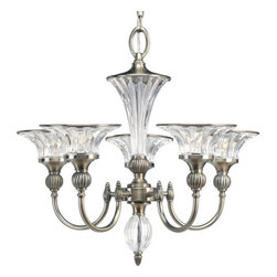 Thomasville Lighting - Thomasville Lighting P4506-101 Roxbury 5 Light 1 Tier Chandelier - Thomasville Lighting P4506-101 Five Light Roxbury Single Tier ChandelierDazzle your guests with an ostentatious display of dazzling light. Combining shimmering clear crystal bell shaped shades and accents with a Classic Silver finish, your guests will be drawn to the Art Nouveau look of this exquisite fixture. The spirit and elegance of an early Hollywood ballroom is yours to recreate in your home with this opulent five light, single tier chandelier.Graceful fluted arms in a Classic Silver finish emanate from a central column of fluted crystal. Crowned with simple black and off -white shades as standard, while blue-green and red shades offer a stylish option.Thomasville Lighting P4506-101 Features: