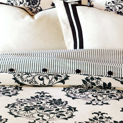 Evelyn Duvet Cover - Give your room a warm, homey feel with Evelyn. Elegantly traditional, this collection features the subtle textures of embroidered sheers, block printed cottons, and ribbon detailing. Evelyn's intricate black and white floral print brings effortless style to the most casual of bedrooms.