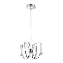 Eurofase Lighting - Cromo Chrome Four Light Chandelier with Clear Glass Shade - - 4 Light Chandelier  - Polished Chrome Finish  - Bulb Included  - Clear Glass Shade Eurofase Lighting - 25633-016