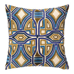 """Trina Turk - Trina Turk Del Mar Blue Embroidered Pillow - The Trina Turk Del Mar throw pillow links intriguing texture and mod style. A series of interlocking shapes form the linen accessory's daring and edgy embroidered design. 20""""W x 20""""H; 100% linen; Blue, olive green, navy blue; Includes feather down insert; Hidden zipper closure; Dry clean only"""