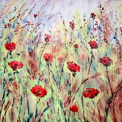 Red Poppy Fields  30 X 40 (Original) by Jean Vadal Smith Bentson - Vibrant Red Poppies fill the canvas with movement . Wild grasses and smaller flowers in background with lovely colors of blues, beiges , sienna  , green with touches of violet . Great painting for your home or office . Painted in rich thick oils, with lots of palette knife details adding great textures.