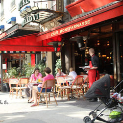 Paris, France, sidewalk cafe, street scene, Red - High definition photography of sidewalk cafe Paris, France.  Sidewalk cafes are always busy in Paris full of people enjoying themselves!