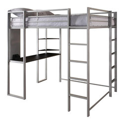 Dorel Home Products - Abode Loft Bed - NOTE: ivgStores DOES NOT offer assembly on loft beds or bunk beds. Upper guardrails for added safety. Front and side ladders. Silver frame with black desk and two shelves. Designed for smaller spaces. Warranty: One year. Desk: 55 in. L x 19 in. D x 30 in. H. Bed:. Weight Capacity: 300 lbs.. 81 in. L x 58.5 in. W x 72 in. H (156.4 lbs.). Assembly Instructions. Bunk Bed Warning Please read before purchase.This trendy loft bunk bed embraces both trend and functionality. The piece creates a sense of privacy and provides a quiet spot to study or relax.