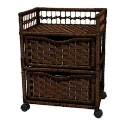 """Oriental Furniture - 23"""" Natural Fiber Chest of Drawers on Wheels - Mocha - A beautiful, light weight, sturdy two drawer chest, crafted from kiln dried Spruce wood frames with rattan style woven spun plant fiber. The drawers provide lots of practical storage space, and the wheels provide a portability that makes these chests ultra-practical, useful accessories."""