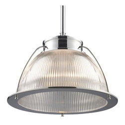 """ELK Lighting - Halophane Pendant 60004-60014 by ELK Lighting - Easily identified as a restoration piece, the Landmark Lighting Halophane Pendant 60004-60014 features classic holophane ribbed glass and a metal frame finished in either Polished Chrome or Aged Bronze. Hang in multiples over the kitchen island for distinctive appeal. Pair with the smaller Halophane Pendant 60005-60015. Based in Pennsylvania, Landmark Lighting was founded in 1996 to create quality lighting fixtures--in styles ranging from restoration to transitional to contemporary--that will enhance the home and be enjoyed as prized possessions for generations. Landmark Lighting is a division of ELK Lighting.The Landmark Lighting Halophane Pendant 60004-60014 is available with the following:Details:Ribbed holophane glass shadeMetal supportsRound ceiling canopyOne 6"""" and two 12"""" extension rods with swivelUL ListedOptions:Finish: Aged Bronze, or Polished Chrome.Lighting: One 150 Watt 120 Volt Medium Base Incandescent lamp (not included).Shipping:This item usually ships within 5-7 business days."""