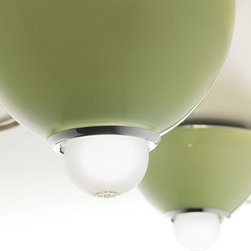 Lightology Collection - Bolle 20 Ceiling Flush - Bolle 20 Ceiling Flush features a triplex blown glass diffuser and a steel chrome finish. Available in pulegoso, smoked glass, white, black, amber, red, green acid, or orange colored shade options. One 75-watt, 120 volt A19 medium base incandescent bulb is required, but not included. Dimensions: 7.87W x 7.48H.