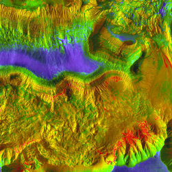 History's Layers in Hebes Chasma Print - On the northern side of Valles Marineris on Mars lies a closed geological depression named Hebes Chasma. In outline, Hebes looks like a micro-version of the gigantic valley - but it extends only about 320 kilometers (200 miles) long and stretches 130 km (80 miles) wide at its widest. Still, Hebes is about 5 to 6 km (16,000 to 20,000 feet) deep in the region seen here and as with most parts of the Valles Marineris system, landslides scar its walls.