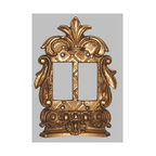 Hickory Manor House - Corinthian Double Dimmer Switch Plate in Anti - Vintage original. Custom made by artisans unfortunately no returns allowed. Enhance your decor with this graceful switch plate. Made in the USA. Made of pecan shell resin. Weight: 1 lb.