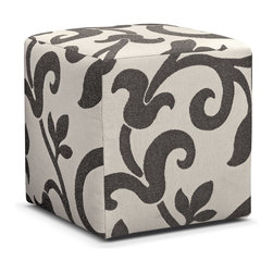 """Colette Cube Ottoman - Smartly Dressed. Give your living room a fashionable flair with our fun and functional Colette cube ottoman. The classic cube shape is styled """"to-the-floor"""" and covered in a finely woven leaf and vine accent fabric to match the pillows on the collection's sofa and loveseat. Neither too manly nor too feminine, and so versatile — it's no wonder cube ottomans are finding their way into the most well-styled rooms!"""