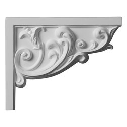 """Ekena Millwork - 9""""W x 7""""H x 3/4""""D Aberdeen Stair Bracket, Right - 9""""W x 7""""H x 3/4""""D Aberdeen Stair Bracket, Right. With the beauty of original and historical styles, decorative stair brackets add the finishing touch to stair systems. Manufactured from a high density urethane foam, they hold the same type of density and detail as traditional plaster stair bracket products. They come factory primed and can be easily installed using standard finishing nails and/or polyurethane construction adhesive."""