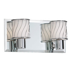 Dainolite - 2 Light Polished Chrome Vanity Bevelled Mirror Back Plate White Frosted Glass - -Main Body Material: Glass