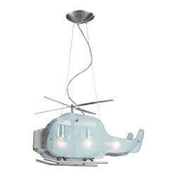 Elk Lighting - Elk Lighting-5056/3-Novelty - Three Light Helicopter Shaped Pendant - Description: Helicopter in a satin nickel finish formed with satin and clear glass