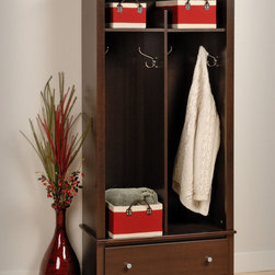 "Prepac - Espresso Entryway Organizer - Give your entryway, foyer or mudroom some much-needed storage with the Entryway Organizer. Keep your coats, jackets and sweaters neatly stored in the two divided hanging areas, and tuck away gloves, hats and scarves in the single drawer underneath. For everything else, there's the divided top shelf, the perfect space for school supplies, hats and other everyday items. This organizer is an indispensable piece in any busy home.; Finished in durable rich espresso laminate; Detailed with brushed nickel knobs; Drawer runs smoothly on metal glides with built-in safety stops; Constructed from CARB-compliant, laminated composite woods with a sturdy MDF backer; Ships Ready to Assemble, includes an instruction booklet for easy assembly and has a 5-year manufacturer's limited warranty on parts; Proudly manufactured in North America; Dimensions: Assembled Dimensions: 31.5""W x 68.75""H x 16""D; Internal Dimensions: 13""W x 42.75""H x 15.5""D (bottom), 13""W x 9""H x 14""D (top), 24.75""W x 5""H x 12.5""D (drawer)"