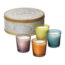 Everybody's Ayurveda - Dosha Starter Gift Set - 4 Votives in 4 Dosha Scents - Our starter gift set contains four votive candles in four dosha scents using organic fragrances. Each votive is filled with approximately 2.5 ounces of wax each, and has an approximate burn time of 20 hours. Comes in keepsake tin. Candles included are: Tridosha (Purple), Vata (Amber), Pitta (Green) and Kapha (Blue). Container is 9in. dia. x 4in. tall. Glass votives are approximate 2.5 in. tall.
