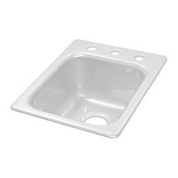 "Lyons Industries - Kitchen Prep Sink, 16""L x 20""W Single Bowl 8"" Deep Acrylic, Three Faucet Holes - Lyons Industries Single Bowl white acrylic kitchen Prep sink 8"" deep with three faucet holes on 8"" centers. This standard self rimming 16"" x 22"" sink is easy to install as a remodel or new construction project. This sturdy sink has durable easy to clean high gloss acrylic construction with a fiberglass reinforced insulation backer. This sink is quiet and provides a superior heat retention than other sink materials meaning your water stays warm longer. Lyons sinks come with a simple mounting tab and clip system to firmly fasten the sink to the countertop and reinforced drain areas for safely supporting a garbage disposal. Detailed installation instructions include the cut-out specifications. Lyons sinks are proudly Made in America by experienced artisans supporting our economy."