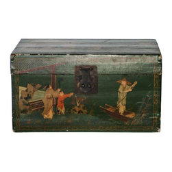Pre-owned Antique Oriental Trunk Papier Mache - A beautiful antique papier mache hand-painted trunk. The colors are amazing , and the condition is excellent.