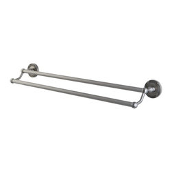 "Kingston Brass - Kingston Brass Satin Nickel Georgian 24"" Dual Towel Bar BA9313SN - Kingston Brass' bathroom accessories are built for long-lasting durability and reliability. They are designed so you can easily coordinate matching pieces. Each piece is part of a collection that includes everything you need to complete your bathroom decor. All mounting hardware is included and installation is easy. Manufacturer: Kingston Brass. Model:BA9313SN. UPC: 663370049279. Product Name: 24"" Dual Towel Bar. Collection / Series: Georgian. Finish: Satin Nickel. Theme: Classic. Material: Brass. Type: Accessories. Features: 2-1/2"" diameter bases. 24"" dual towel bar. Premium finish. Easy installation. All mounting hardware included."