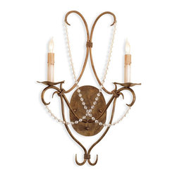"Currey & Company - Currey & Company Wrought Iron and Crystal Sconce - The perfect proportions of this beautiful form are augmented by a sparing use of crystal ornamentation. Its overall measurements are 14""W X 7""D X 22""H. This wall sconce satisfies both the traditional and the contemporary. Wall sconces are sold as pin-ups which allows them to be either hard wired or plugged in.  The sconce features two lights and takes 60 watt max bulbs. (BULB IS NOT INCLUDED)"