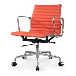 Meelano - M341 Eames Aluminum Group Style Office Chair in Orange Leather - Managing your comfort for a long day at your desk is important to your health and your bottom line. It helps if you can look cool doing it. Welcome the M341 chair to your management style. Sleek, minimal, classic design meets ergonomically correct office chair.