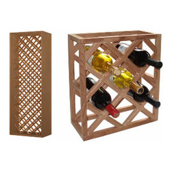 Vinotemp - Individual Diamond Wine Rack - Individual bottles can be stored in this enhanced wood wine rack from Vinotemp. The Individual Diamond wine rack stores up to 73 in a diagonal pattern, creating a stylish storage display for your collection. Hand-Made in our Southern California factory from untreated domestic woods and quality metal fastners, this rack can be custom built to your exact needs.