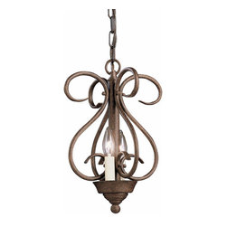 Kichler 2-Light Foyer/Hall Lanterns - Tannery Bronze - Two Light Foyer Chain Hung The rich, rustic design of this foyer light by lighting is sure to add a beautiful atmosphere to any room. The scrollwork is finished with tannery bronze, which adds a lovely texture and antique beauty.