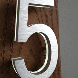 "Luxello - Modern Backlit House Number LED Address Sign - The luxello LED Address Number and House Modern House Numbers are made 5"" inches tall and are made from a solid piece of machines aluminum."