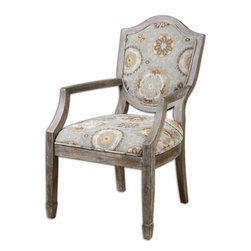"Uttermost - Valene Weathered Accent Chair - An organic pattern in misty, mineral blues and pebble tans on a deeply weathered, solid birch classic with carved shield back and spade feet. Seat height is 19""."