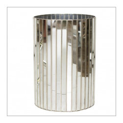 Worlds Away Round Faceted Antique Mrror Wastebasket - Round faceted antique mirror wastebasket with silver detailing.