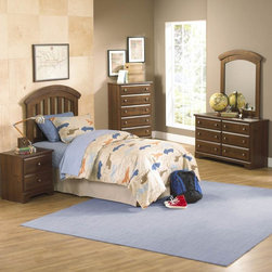 Kids Furniture - Parker Bedroom offers the perfect solution for rooms that have a smaller footprint, yet still need lots of storage. Surfaces clean easily with a soft cloth. Design features include clean case profiles, lipped drawers with step shaped edges, smooth base line cuts and rounded top crowns. Parker™s mid- height Loft Bed allows a twin size sleeping area up top with the Dresser and Bookcase fitting beneath, all in the same compact floor space. For safety there is a sturdy built-in side rail and stair unit with nonslip tread surface to access the loft sleeping area, which allows extra drawer storage within the stair end panel. For clothing storage there is a Double Dresser with Vertical Mirror, and a 5-Drawer Chest. Plus, there is a Bookcase cubby that doubles as an open Nightstand for the bedside. Twin and Full Size Panel Beds are also available, and have rounded tops that coordinate with the Vertical Mirror. Parker has sturdy folded case construction of durable engineered wood products with a warm golden brown cherry finish on pine grained laminate veneers. Its hardware is a wooden knob with a brushed nickel insert.