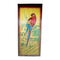 "Bamboo54 - Bamboo Parrot Scene - Bamboo54 Parrot scene is made from authentic bamboo and hand strung. One curtain contains 90 strands across and is the perfect door hanging accessory. Hand painted on both sides. Measures approximately 36"" x 80"""