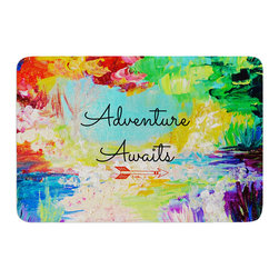 "KESS InHouse - Ebi Emporium ""Adventure Awaits"" Rainbow Paint Memory Foam Bath Mat (24"" x 36"") - These super absorbent bath mats will add comfort and style to your bathroom. These memory foam mats will feel like you are in a spa every time you step out of the shower. Available in two sizes, 17"" x 24"" and 24"" x 36"", with a .5"" thickness and non skid backing, these will fit every style of bathroom. Add comfort like never before in front of your vanity, sink, bathtub, shower or even laundry room. Machine wash cold, gentle cycle, tumble dry low or lay flat to dry. Printed on single side."