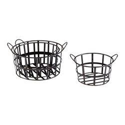 Cyan Design - Cyan Design Barn Basket, Set of 3 - This Cyan Design barn basket set includes three nesting baskets, each in a classic rounded shape. The baskets are done in a primitive style, with only the bare essentials of design, including gridded framing for support and rounded handles. These barn baskets are finished in Raw steel.