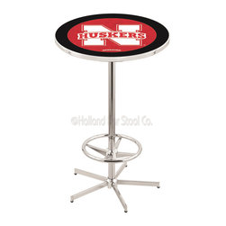 Holland Bar Stool - Holland Bar Stool L216 - 42 Inch Chrome Nebraska Pub Table - L216 - 42 Inch Chrome Nebraska Pub Table  belongs to College Collection by Holland Bar Stool Made for the ultimate sports fan, impress your buddies with this knockout from Holland Bar Stool. This L216 Nebraska table with retro inspried base provides a quality piece to for your Man Cave. You can't find a higher quality logo table on the market. The plating grade steel used to build the frame ensures it will withstand the abuse of the rowdiest of friends for years to come. The structure is triple chrome plated to ensure a rich, sleek, long lasting finish. If you're finishing your bar or game room, do it right with a table from Holland Bar Stool.  Pub Table (1)