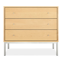 Delano dresser - The simple, clean look of each Delano dresser is a tribute to mid-century modern design. Handcrafted from solid wood and carefully selected wood veneers, Delano offers a beautiful mix of materials with its stainless steel base and pulls.