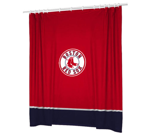 Sports Coverage - MLB Boston Red Sox Baseball Bathroom Accent Shower Curtain - Features: