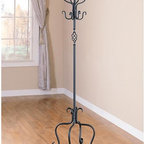 None - Spiral Design Sandy Black Metal Coat/ Hat Rack - The elegantly designed contemporary coat and hat rack is the perfect addition to any home for an added touch of sophistication. Made fully of iron with a black finish, the beautiful spiral design of this coat rack helps it to accent any home decor.